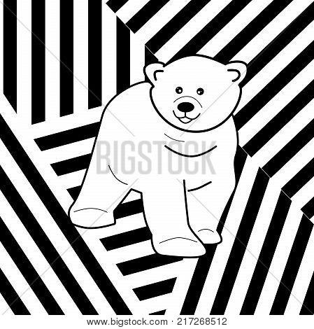 Illustration of cute cartoon white polar bear on striped background