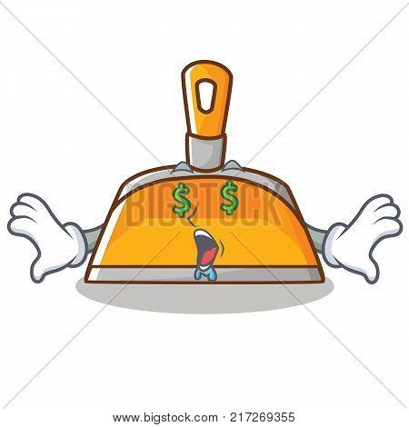 Money eye dustpan character cartoon style vector illustration