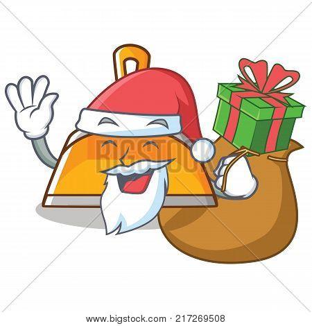 Santa with gift dustpan character cartoon style vector illustration