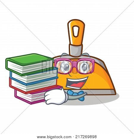Stuent with book dustpan character cartoon style vector illustration