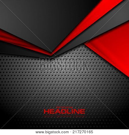Abstract red and black contrast technical corporate background. Vector perforated design