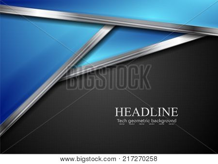 Blue and black abstract hi-tech background with metallic stripes. Vector design