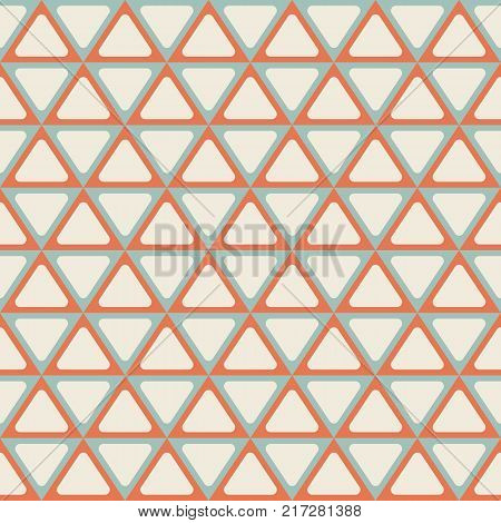 Seamless abstract geometric pattern with triangles. Symmetry arranged triangles with rounded corners. Retro colors. Vector background.