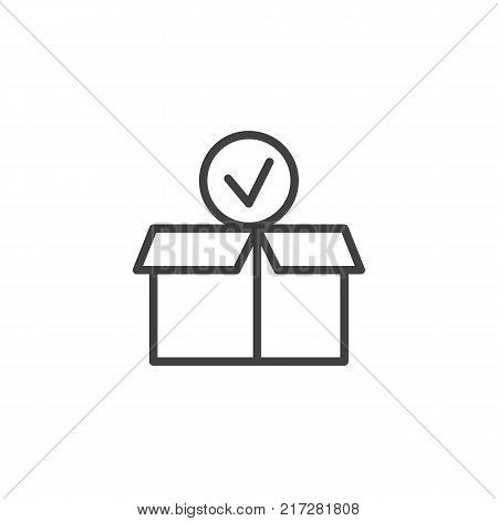 Package paper box with check mark line icon, outline vector sign, linear style pictogram isolated on white. Checked delivery box symbol, logo illustration. Editable stroke