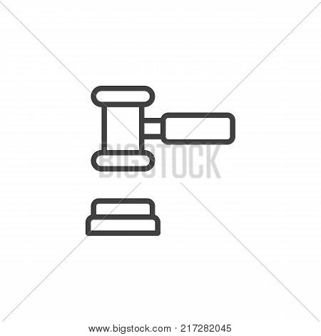 Court gavel line icon, outline vector sign, linear style pictogram isolated on white. Judge mallet symbol, logo illustration. Editable stroke