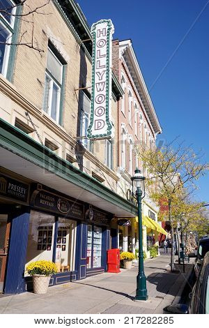 PETOSKEY, MICHIGAN / UNITED STATES - OCTOBER 18, 2017: The historic building of the former Hollywood Theater, on Lake Street in downtown Petoskey, now houses various businesses and offices.