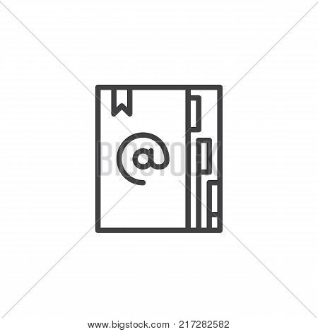 Agenda line icon, outline vector sign, linear style pictogram isolated on white. Address book with bookmark symbol, logo illustration. Editable stroke