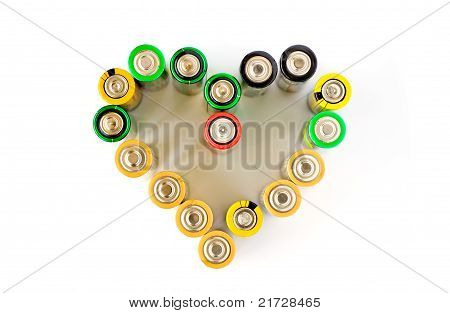 A Heart Made From Aa Batteries On The White Background