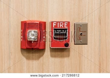 Push In Pull Down Switch In Case Of Fire, Phone Jack Outlet And Fire Alarm Lighting