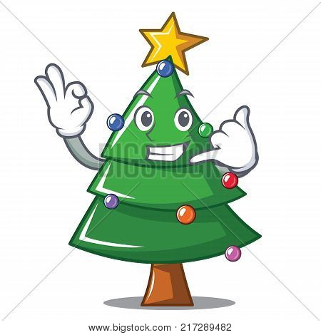 Call me Christmas tree character cartoon vector illustration
