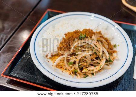 Thai Larb Menu Fusion On Tonkatsu Served With Steamed Rice On Tray.