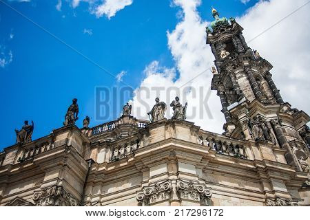 Dresden, Germany in a beautiful summer day. Historical and cultural center of Europe. Cathedral of the Holy Trinity aka Hofkirche Kathedrale Sanctissimae Trinitatis