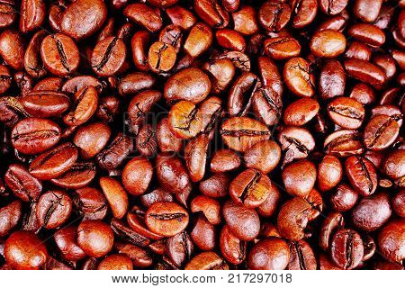 Coffee texture. Roasted coffee beans as background wallpaper. Beautiful arabica real cofee bean illustration for any concept. Gourmet coffee beans macro closeup studio photo. Coffe grains.