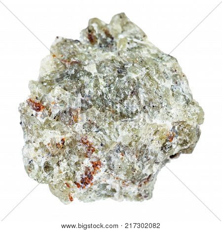macro shooting of natural mineral rock specimen - raw olivine stone isolated on white background from Kovdor region, Kola Peninsula, Russia