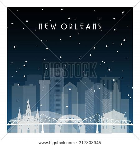 Winter night in New Orleans. Night city in flat style for banner poster illustration background.