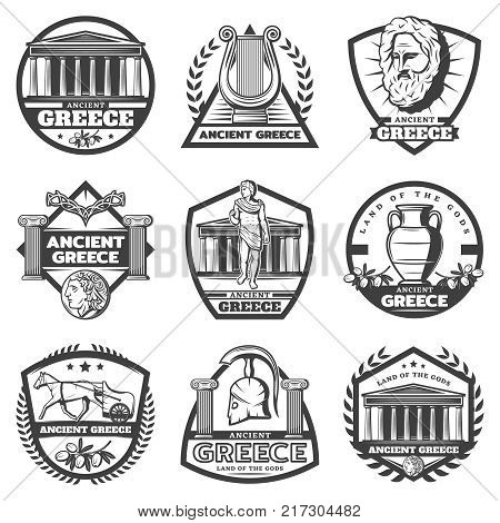 Vintage monochrome ancient Greece labels set with temple vase chariot olive harp coin helmet columns isolated vector illustration