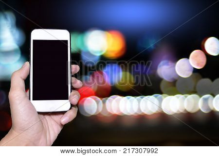 Smart phone on beautiful light background for your conten