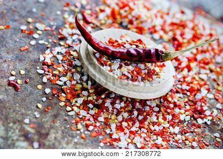 Red chili pepper salt seasoning mix close up