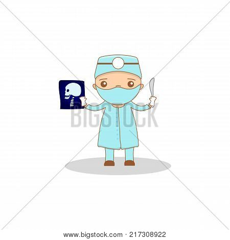 Cute cartoon doctor - surgeon. Kawaii character for your design - vector illustration