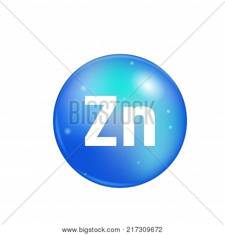 Vitamin Zn pill isolated on white background. icon vector.