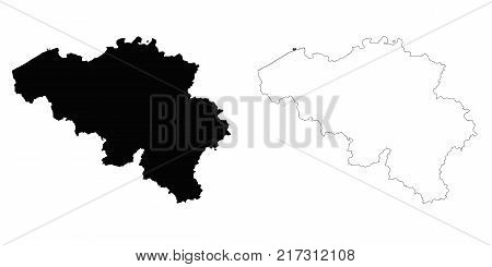 Belgium outline map - detailed isolated vector country border contour maps of Belgium on white background