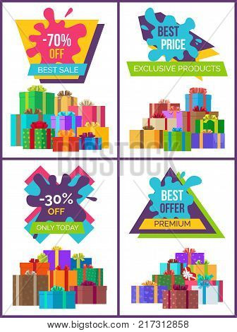 Best price for exclusive products promotional poster with gift boxes with ribbons and bows collected in heaps vector illustrations set.