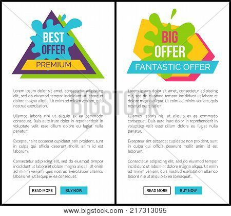 Best premium fantastic offer, website allows to order and buy something via internet, text and sticker, title on vector web banner with buttons