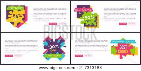 Buy now -65 off, best choice half price discounts, only today -30 , premium goods labels with buttons read more contact us web posters set vector