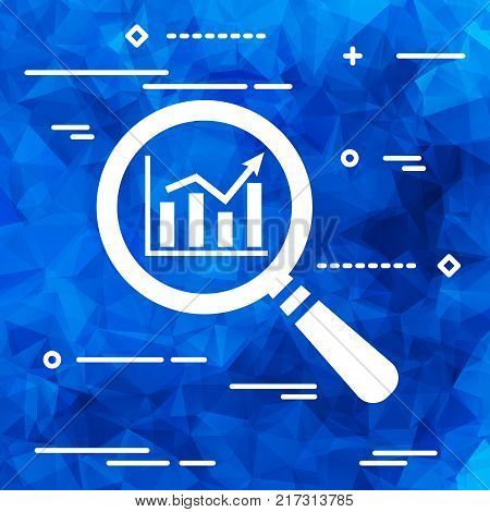 Flat Line art design graphic image concept of search graph going up icon on a blue geometrical polygonal background, search icon design, search icon web, vector magnifying glass