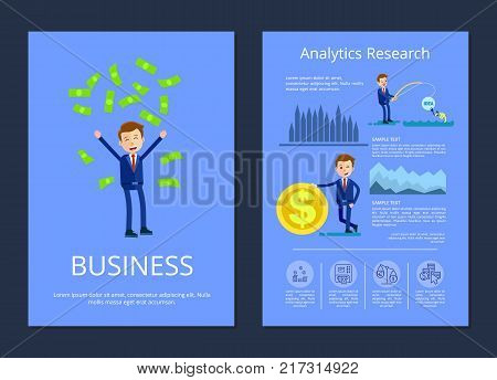 Business and analytic research, man tossing up money and businessman fishing money and standing by big coin, charts and text vector illustration