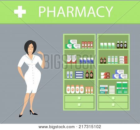 Web banner of a pharmacist. Pharmacy in a green color. Young woman in a white robe points to the shelves with medicines. Vector illustration
