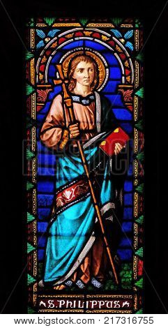 LUCCA, ITALY - JUNE 03: Saint Philip the Apostle, stained glass window in the San Michele in Foro church in Lucca, Tuscany, Italy on June 03, 2017.