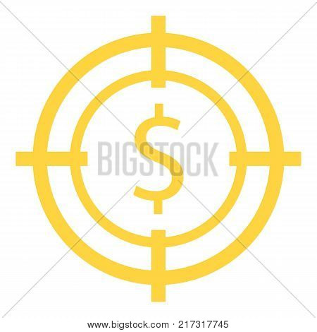 Target money icon. Flat illustration of target money vector icon for web