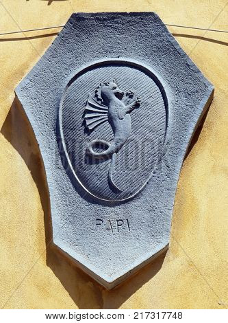 LUCCA, ITALY - JUNE 03: Coat of arms of the family Papi in Lucca, Tuscany, Italy on June 03, 2017.