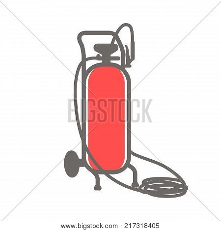Vector colorful icon of red gas cylinder isolated on white background