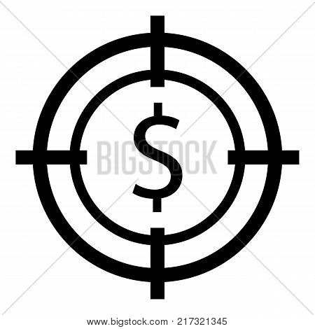 Target money icon. Simple illustration of target money vector icon for web