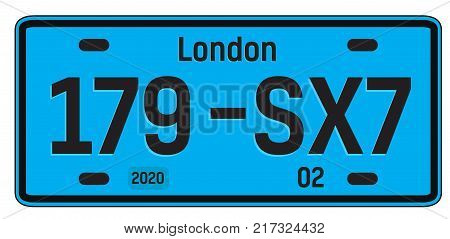 London car plate, realistic looking registration plate design for city souvenir.