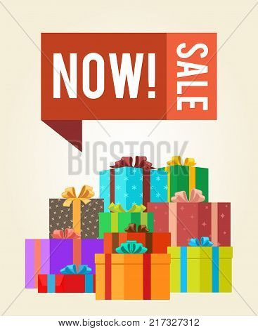 Now sale save push buttons promo label on banner gift boxes vector illustration poster with piles of presents in color wrapping paper decorated by bows