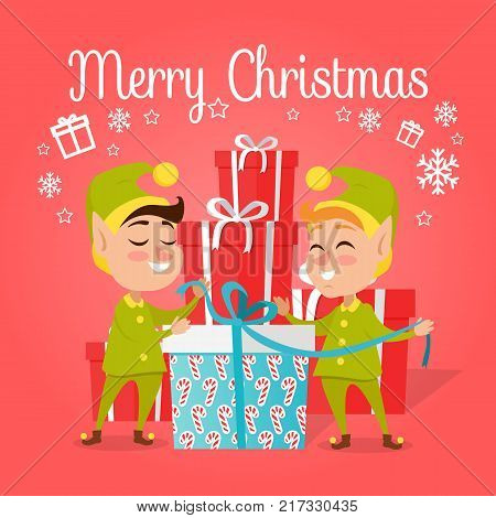 Two happy elves with big present worn in green with yellow costumes and hat. Vector illustration of pixies with gift pack for children. Pattern of candies on box with blue ribbon