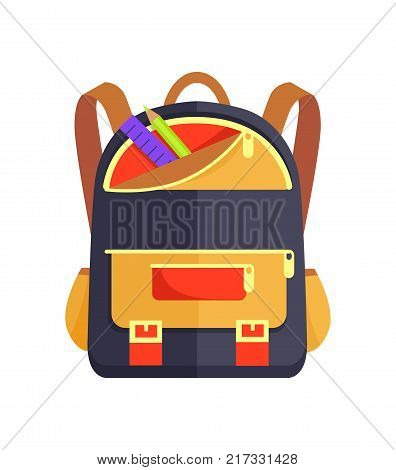 Backpack for child with school stationery accessories pencils and ruler in back pocket vector isolated. Backpack in black, beige and red colors