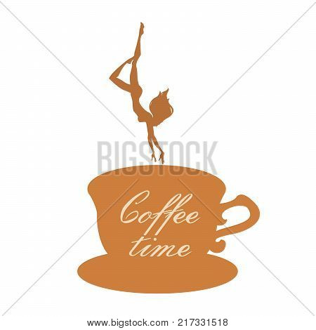Silhouettes of girl diving into cup of coffee. Girl Dives Into Coffee. Vector illustration. Coffee time.