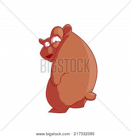 Colorful vector illustration of a cartoon neurotic crazy bear looking backwards over it's shoulder