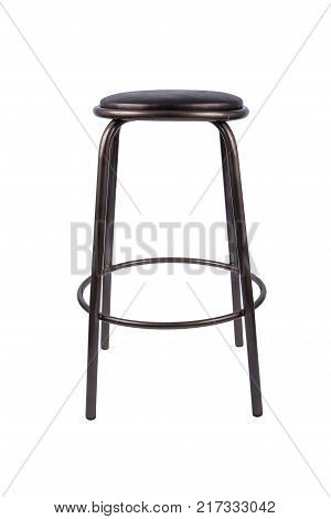 Black metal stool on a white background.