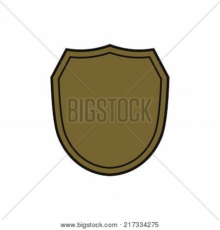 Shield shape gold icon. Simple silhouette flat logo on white background. Symbol of security protection safety strong. Element for secure protect design emblem decoration. Vector illustration