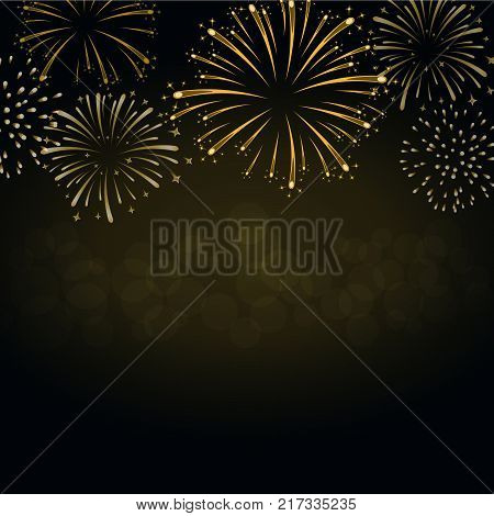 Firework gold sparkle background card. Beautiful bright fireworks isolated on black background. Light golden decoration firework for Christmas card New Year celebration Vector illustration