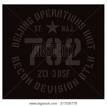 Beijing military plate, realistic looking military typography for t-shirt, poster, print.