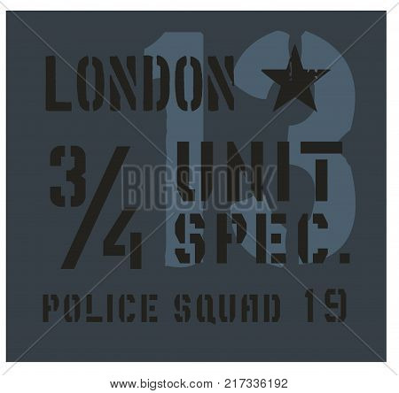 London military plate, realistic looking military typography for t-shirt, poster, print.