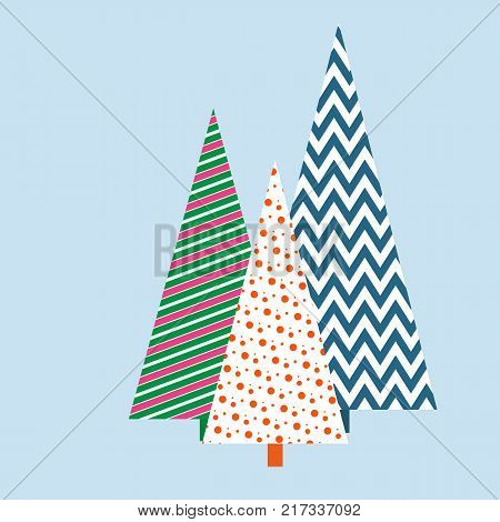 Stylized Christmas trees with a geometric pattern Winter festive background for card invitation template banner Creative decorative Christmas tree with ornament and pattern for wrapping design Vector