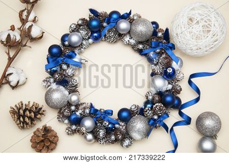 Cristmas Wreath with Fir branches blue