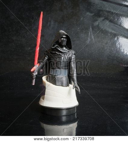 Trang Thailand - DEC 08 2017: Studio shot Kylo Ren bust figure sf cinema from the Star Wars series at Trang village.